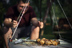 Man waiting for his dinner Stock Photography