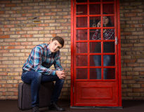 Man waiting for his girlfriend to stop talking Stock Photography