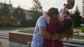 A man is waiting for his lover. Date of a couple in love. Slow motion. stock video footage