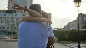A man is waiting for his lover. Date of a couple in love. Slow motion. stock footage