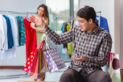 The man waiting for his wife during christmas shopping Royalty Free Stock Photography