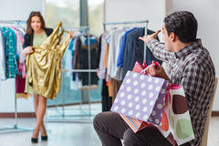 The man waiting for his wife during christmas shopping Royalty Free Stock Image