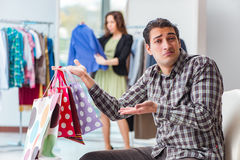 The man waiting for his wife during christmas shopping Royalty Free Stock Images