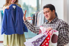 The man waiting for his wife during christmas shopping Royalty Free Stock Photo