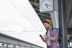 Portrait of caucasian male in railway train station royalty free stock images