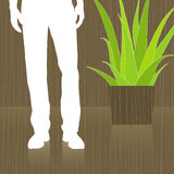 Man Waiting in Lobby. Abstract with reflection. Easy-edit layered vector file--No transparencies or strokes vector illustration