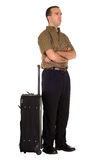 Man Waiting With Luggage Royalty Free Stock Images