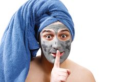 Man is waiting for the mask to dry on the skin, mask for men skin, secret, photo stock image