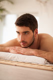 Man Waiting for a Massage Stock Photo