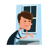 Man waiting next to a window  illustration cartoon character Stock Image