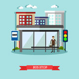 Man waiting for a public transport at bus stop. City urban landscape vector illustration in flat style. Royalty Free Stock Photos