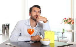 Man waiting for woman late to date Royalty Free Stock Image