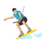 Man wakeboarding in action summer fun hobby water sport character vector illustration extreme wakeboard surfing Stock Photos