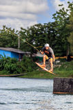 Man Wakeboarding. Jumping Stock Photo
