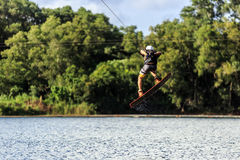 Man Wakeboarding. Jumping Royalty Free Stock Photos