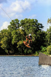 Man Wakeboarding. Jumping Stock Photography
