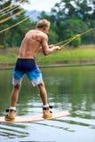 Man Wakeboarding Starting Royalty Free Stock Photo