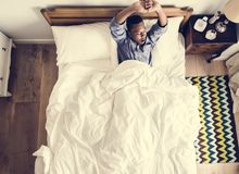 Man waking up in the morning royalty free stock photo