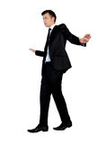 Man walk on imaginary rope. Business man walk on imaginary rope Royalty Free Stock Image