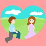 Man walk through loveland find woman. Illustration Stock Photos