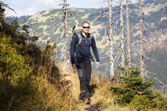 Man walk over the mountains, Czech mountains Krkonose Royalty Free Stock Photography
