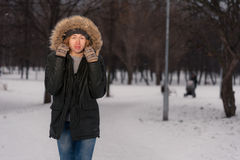 Man walk in the Park at winter Royalty Free Stock Photography