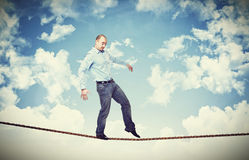 Man walk on rope Royalty Free Stock Photography