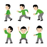 Man Walk Run Jump Action Character Active Fitness Exercise Sport Movement Flat Cartoon Side View Vector Royalty Free Stock Photos