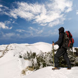 Man walk on snow lane Stock Photography