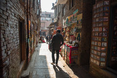 Man walk in tourist attraction in Nepal Stock Photo