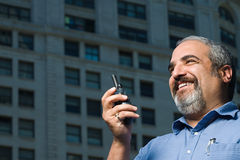 Man with walkie talkie Stock Photos