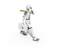 Man walking. Crash test dummy walking and speaking over a white background Stock Photography