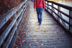 Man walking on aged wooden bridge. A man walking on aged wooden bridge floor with colorful autumn season leaves on the ground. Man walking alone across the Royalty Free Stock Photos