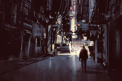 Man walking alone in dark city. Illustration painting Royalty Free Stock Images