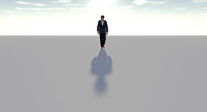Man walking alone. Long slow journey abstract solitary Royalty Free Stock Images