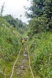 Man walking along abandoned railroad tracks used by homemade vehicles. Man walking along abandoned railroad tracks in the jungle, used by `ghost trains` or Royalty Free Stock Photography