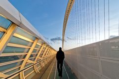 Man on Calatrava bridges in Reggio Emilia in northern Italy Stock Photography