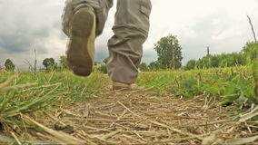 Man walking along a footpath in the countryside stock footage