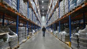 Man walking along multi level warehouse with cardboard boxes arranged on the racks to the camera. 4k stock footage
