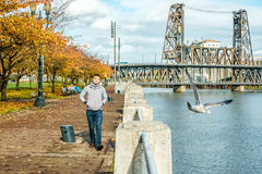 Man walking along the riverwalk in Portland city at autumn Stock Photography