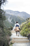A man walking along the trail to the Blue Lakes and Tasman Glacier View, Aoraki / Mount Cook National Park Stock Images