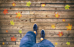 A man walking on autumn seasonal wooden floor with leaves Royalty Free Stock Image