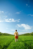 Man walking away trough the field Royalty Free Stock Photos