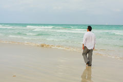 Man Walking On The Beach Royalty Free Stock Image