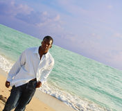 Man Walking on the Beach Royalty Free Stock Image