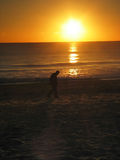 Man Walking on Beach. An Old Man Walking on the Beach during Sunset royalty free stock images