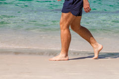 Man walking on the beach Stock Photography