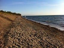 Man walking on the beach, sunset, autumn royalty free stock photo