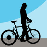 Man Walking Bicycle Royalty Free Stock Photos