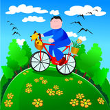 Man while walking in a bike in nature Stock Images